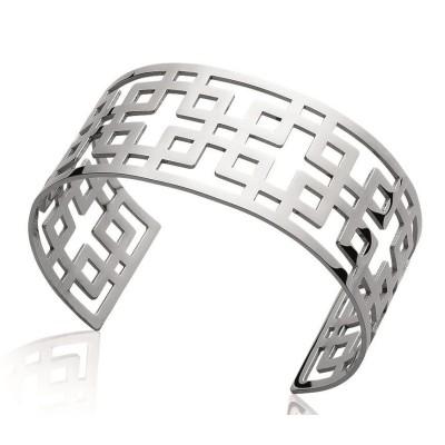 Bracelet manchette pour femme en acier gris - Syllina - Lyn&Or Bijoux