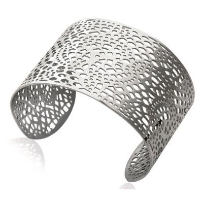 Bracelet manchette pour femme en acier gris, Looping
