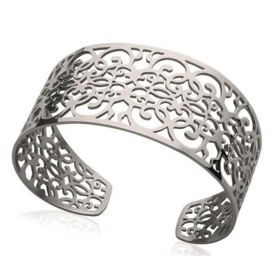 Bracelet manchette pour femme en acier gris, Sibila