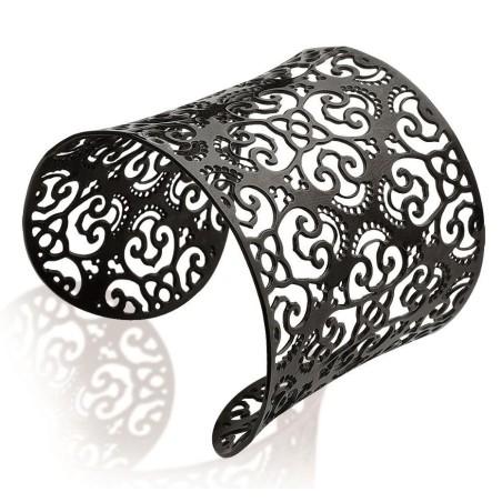 Bracelet manchette en acier noir, Simila