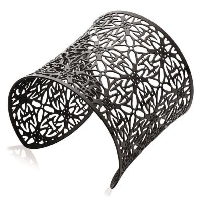 Bracelet manchette tendance en acier noir, Vima