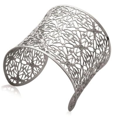 Bracelet manchette en acier gris pour femme - Vima - Lyn&Or Bijoux