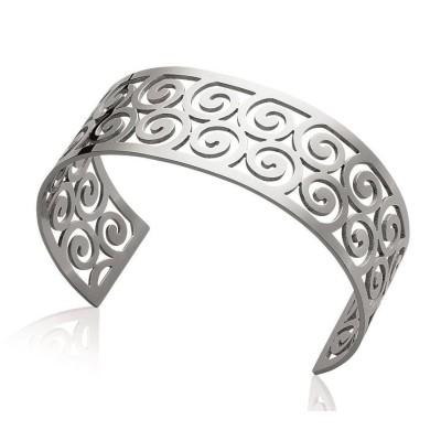 Bracelet manchette tendance en acier gris, Prya