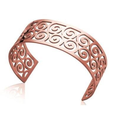 Bracelet manchette tendance en acier rose, Prya