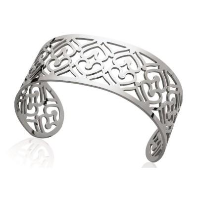 Bracelet manchette en acier gris pour femme - Tina - Lyn&Or Bijoux