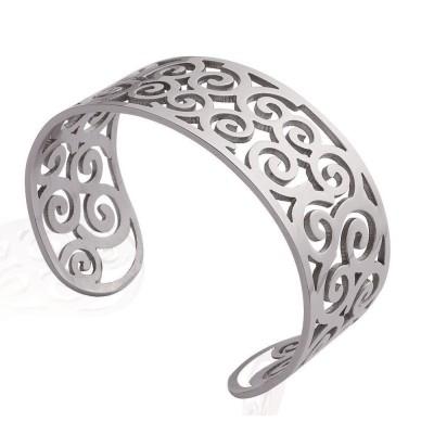 Bracelet manchette en acier gris - Galilea - Lyn&Or Bijoux