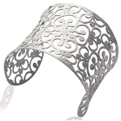Bracelet manchette pour femme en acier gris, Melba