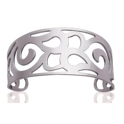 Bracelet manchette en acier gris - Sabrina - Lyn&Or Bijoux