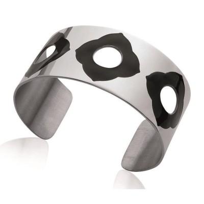 Bracelet manchette pour femme en acier et émail noir, July