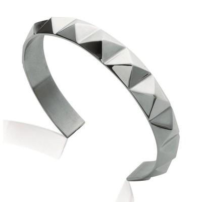 Bracelet jonc pour femme en acier gris, Malya