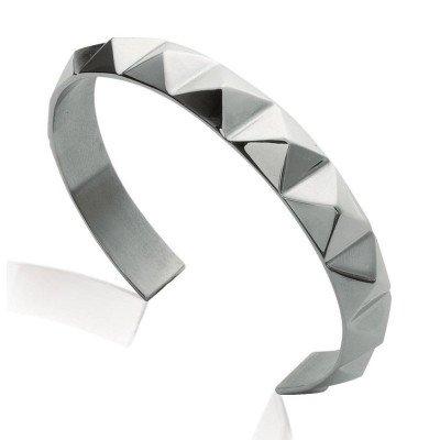 Bracelet jonc à pointes en acier gris pour femme - Malya - Lyn&Or Bijoux