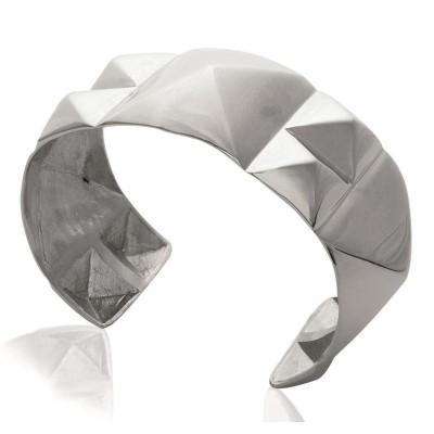 Bracelet manchette tendance en acier gris, Mana