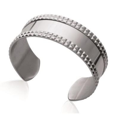 Bracelet manchette pour femme en acier gris, Purissa