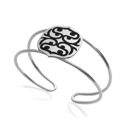 Bracelet manchette pour femme en acier et émail noir, Evolution