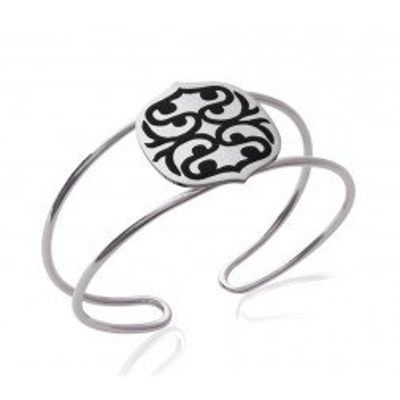 Bracelet manchette en acier et émail noir pour femme - Evolution - Lyn&Or Bijoux
