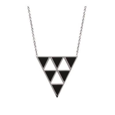 Collier pour femme triangle noir et acier