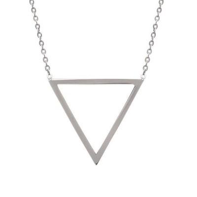 Collier triangle en acier gris pour femme, Abyssa