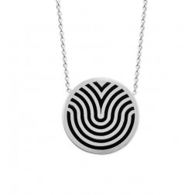 collier acier original gris et noir pour femme