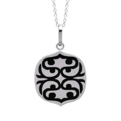 collier ethnique gris et noir en acier