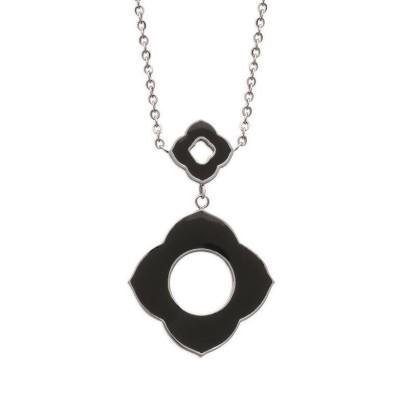 Collier pour femme en acier et fleur noire