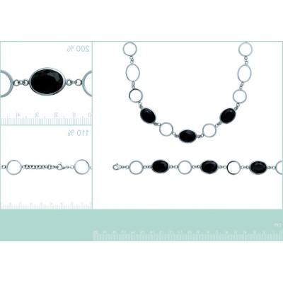 Bracelet tendance acier et pierre noire pour femme, Zelna
