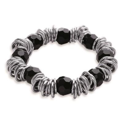 Bracelet acier et pierre noire pour femme - Franny - Lyn&Or Bijoux