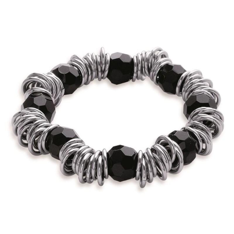 Bracelet tendance acier et pierre noire femme, Franny