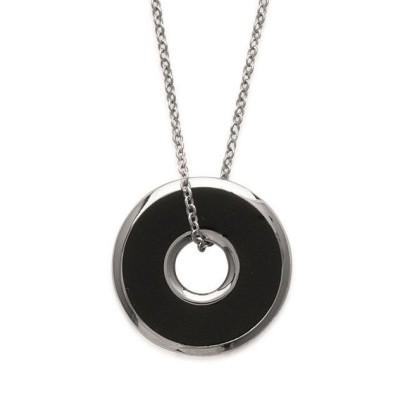 Collier acier et émail noir pour femme - Attachement - Lyn&Or Bijoux