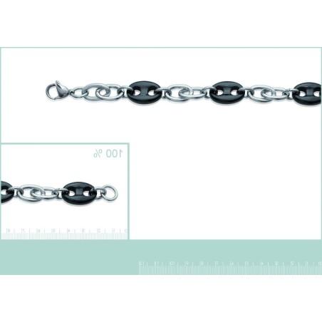 Bracelet tendance en acier noir pour femme, Oméga