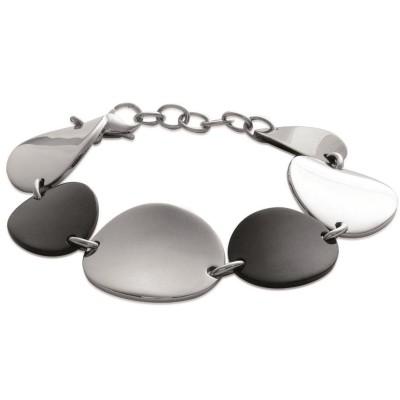 Bracelet en acier noir pour femme, Heptica