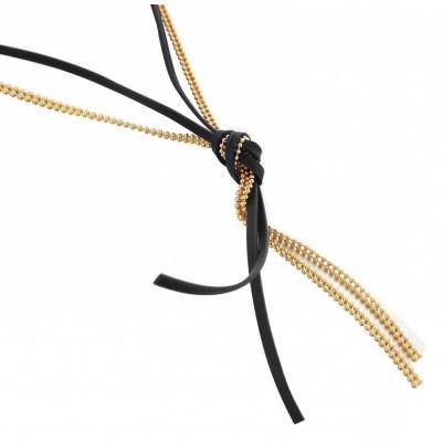 Collier créateur: sautoir doré et cuir noir pour femme - Noeud - Lyn&Or Bijoux