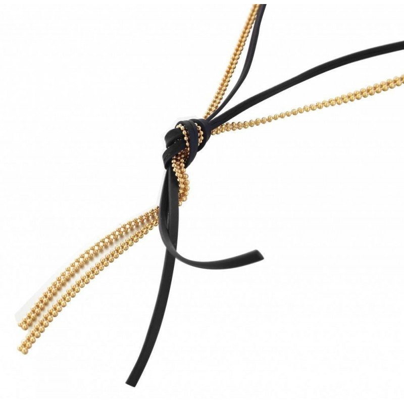 Collier de créateur pour femme - Sautoir en plaqué or et Cuir Noir