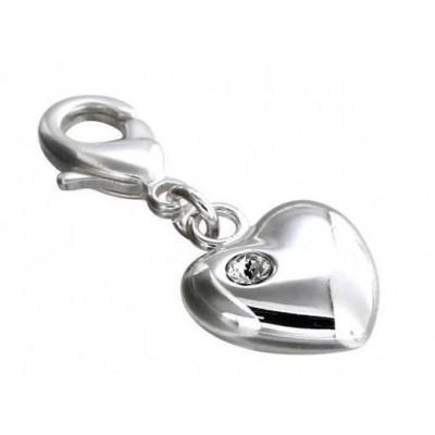 Charm LZ argent, résine noire, cristal de Swarovski, Light Heart
