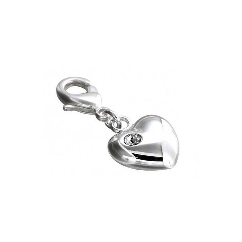Charm en argent, résine noire, cristal de Swarovski, Light Heart