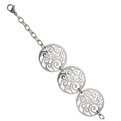 Bracelet en acier gris pour femme, Mallina