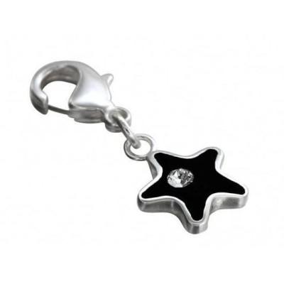 Charm LZ en argent, résine noire, cristal de Swarovski - Black Star