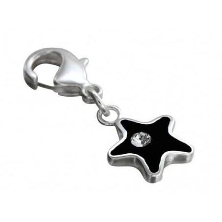 Charm en argent, résine noire, cristal de Swarovski, Black Star