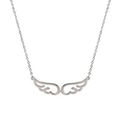 Collier en acier gris pour femme, motif ailes, Kalea