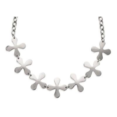 Collier fleur en acier gris pour femme, Isaure