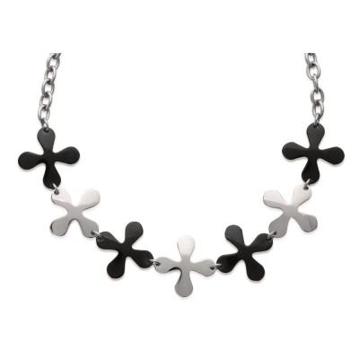 Collier fleur en acier noir pour femme - Isaure - Lyn&Or Bijoux