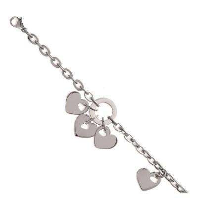 Bracelet tendance coeur en acier gris femme, Quala