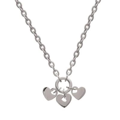 Collier en acier gris pour femme, motif coeur, Quala