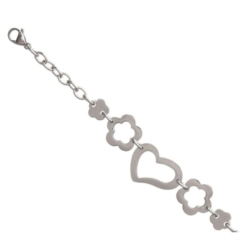 Bracelet tendance coeur en acier gris femme, Syma