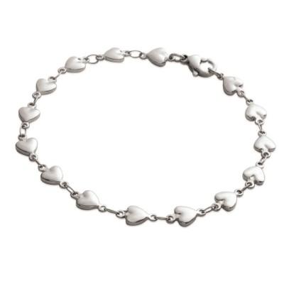 Bracelet tendance coeur en acier gris femme, Quallyna