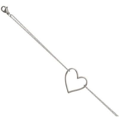 Bracelet tendance coeur en acier gris femme, Prague