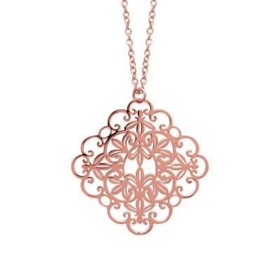 Long Collier 60 cm en acier inoxydable rose pour femme, Oupsy
