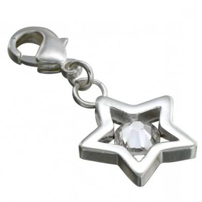 Charm pour femme LZ en argent, cristal de Swarovski, Etoile
