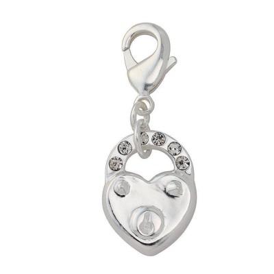 Breloque femme en argent, cristal de Swarovski, coeur cadenas