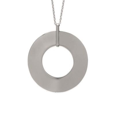 Collier sautoir 60 cm en acier gris pour femme, Mirage