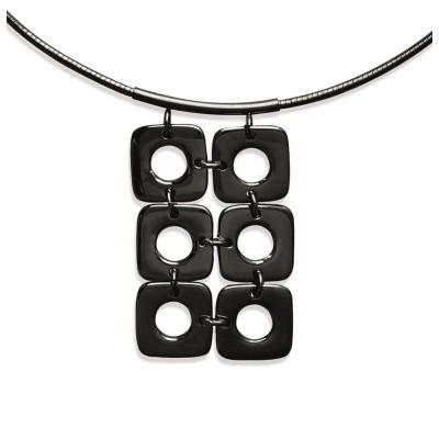Collier câble et pendentif en acier noir pour femme - Ylova - Lyn&Or Bijoux